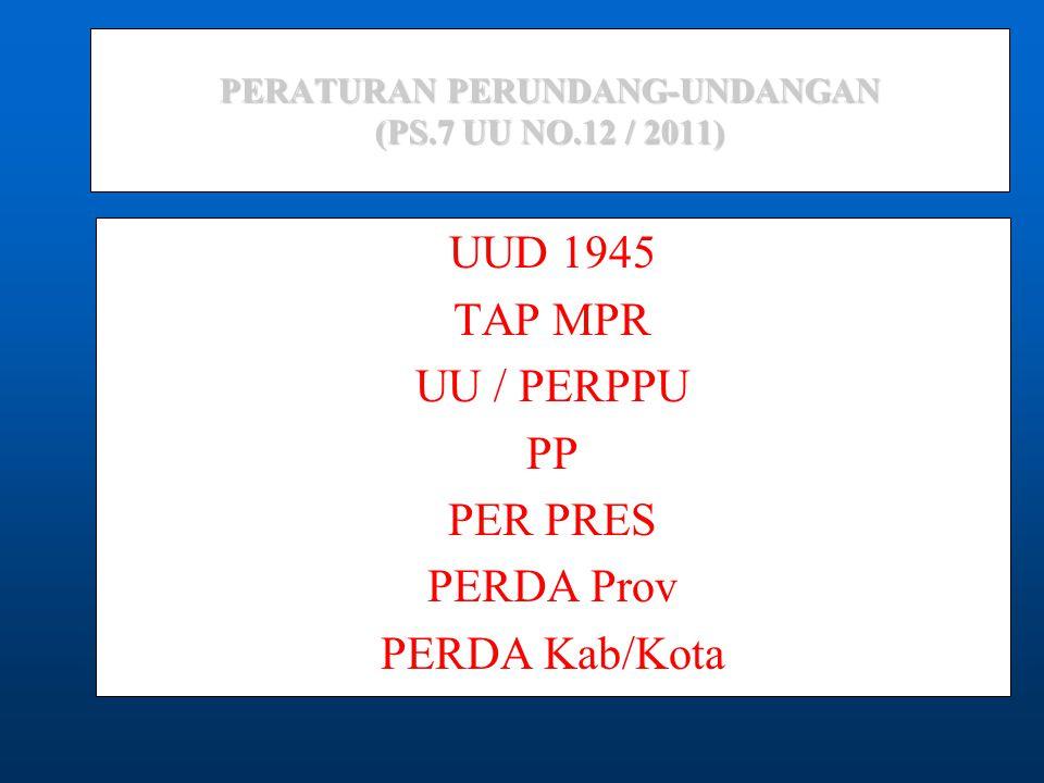 PERATURAN PERUNDANG-UNDANGAN (PS.7 UU NO.12 / 2011) UUD 1945 TAP MPR UU / PERPPU PP PER PRES PERDA Prov PERDA Kab/Kota