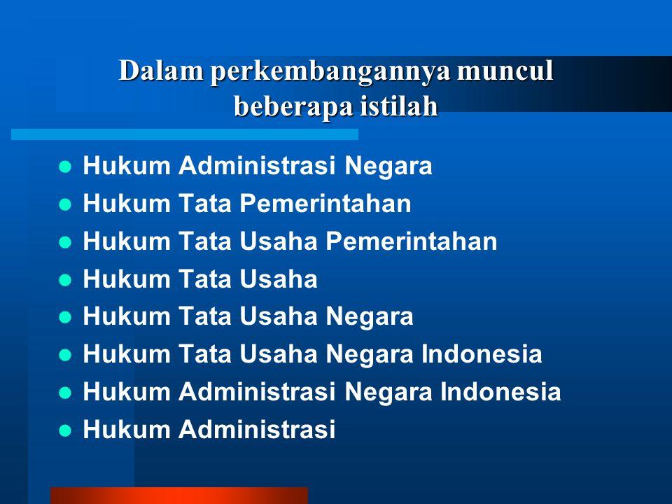 Dalam perkembangannya muncul beberapa istilah Hukum Administrasi Negara Hukum Tata Pemerintahan Hukum Tata Usaha Pemerintahan Hukum Tata Usaha Hukum Tata Usaha Negara Hukum Tata Usaha Negara Indonesia Hukum Administrasi Negara Indonesia Hukum Administrasi