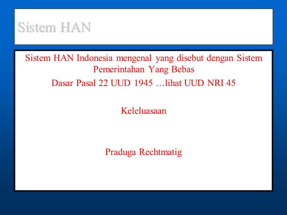 Sistem HAN Sistem HAN Indonesia mengenal yang disebut dengan Sistem Pemerintahan Yang Bebas Dasar Pasal 22 UUD 1945 …lihat UUD NRI 45 Keleluasaan Praduga Rechtmatig