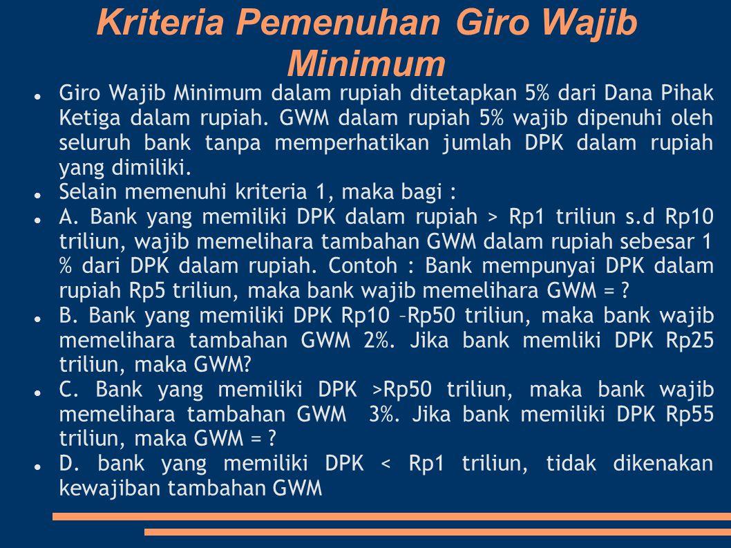 Kriteria Pemenuhan Giro Wajib Minimum Giro Wajib Minimum dalam rupiah ditetapkan 5% dari Dana Pihak Ketiga dalam rupiah. GWM dalam rupiah 5% wajib dip