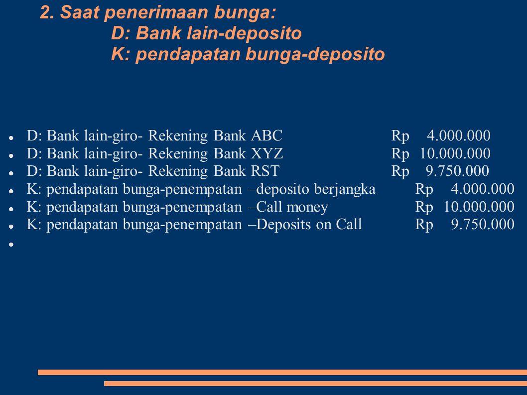 2. Saat penerimaan bunga: D: Bank lain-deposito K: pendapatan bunga-deposito D: Bank lain-giro- Rekening Bank ABCRp 4.000.000 D: Bank lain-giro- Reken