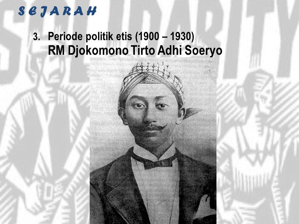 S E J A R A H 3. Periode politik etis (1900 – 1930) RM Djokomono Tirto Adhi Soeryo