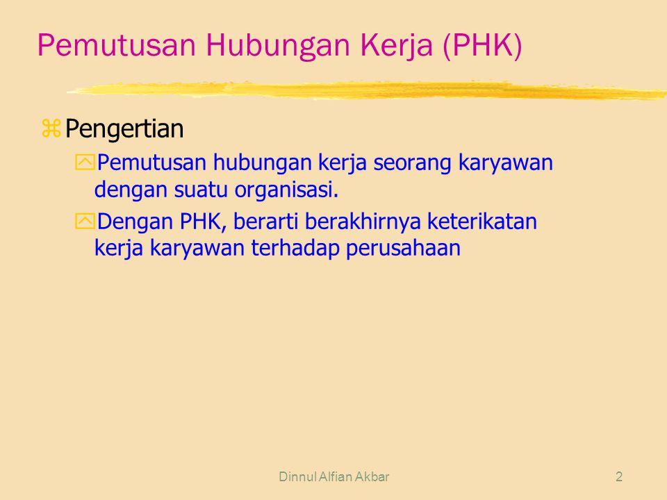 Dinnul Alfian Akbar2 Pemutusan Hubungan Kerja (PHK) zPengertian yPemutusan hubungan kerja seorang karyawan dengan suatu organisasi. yDengan PHK, berar