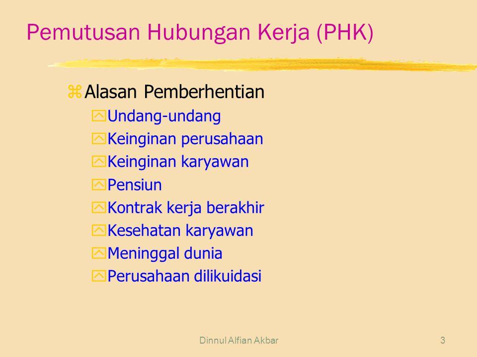 Dinnul Alfian Akbar3 Pemutusan Hubungan Kerja (PHK) zAlasan Pemberhentian yUndang-undang yKeinginan perusahaan yKeinginan karyawan yPensiun yKontrak k