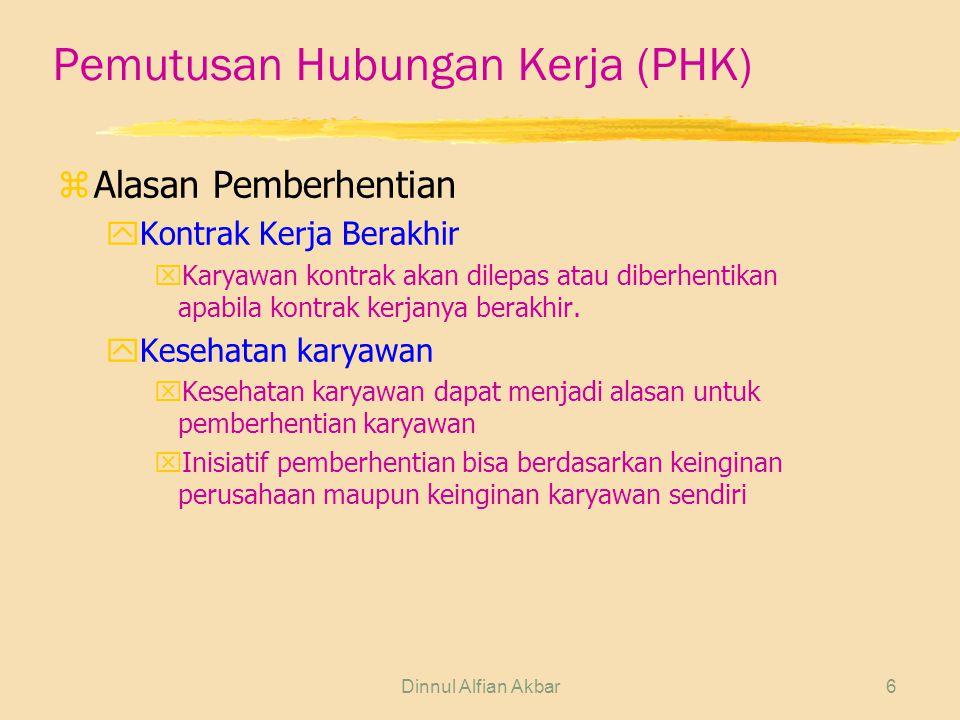 Dinnul Alfian Akbar6 Pemutusan Hubungan Kerja (PHK) zAlasan Pemberhentian yKontrak Kerja Berakhir xKaryawan kontrak akan dilepas atau diberhentikan ap
