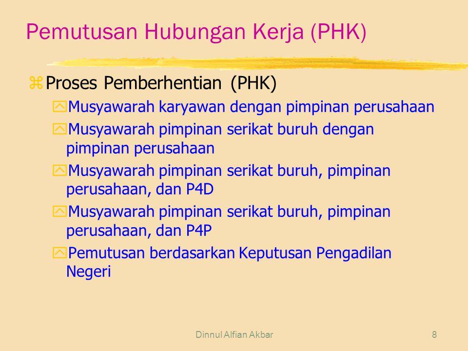 Dinnul Alfian Akbar8 Pemutusan Hubungan Kerja (PHK) zProses Pemberhentian (PHK) yMusyawarah karyawan dengan pimpinan perusahaan yMusyawarah pimpinan s