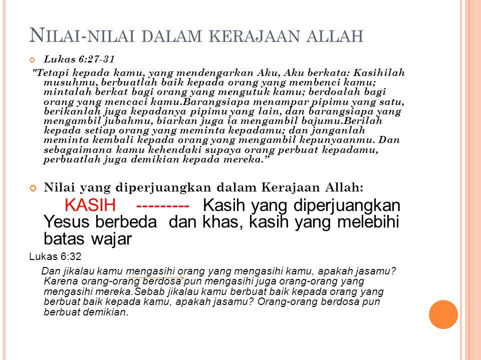 N ILAI - NILAI DALAM KERAJAAN ALLAH Lukas 6:27-31