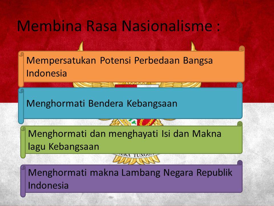Indonesia Tanah Airku, Tanah tumpah darahku, Disanalah aku berdiri, Jadi pandu ibuku Indonesia Kebangsaanku, Bangsa dan tanah airku, Marilah kita berseru, Indonesia bersatu Reff…..Hiduplah tanahku, hiduplah negriku, Bangsaku, rakyatku semuanya, Bangunlah jiwanya, bangunlah badannya, Untuk Indonesia Raya.