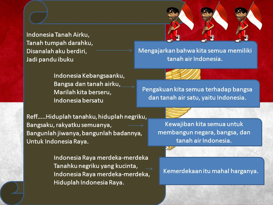 Indonesia Tanah Airku, Tanah tumpah darahku, Disanalah aku berdiri, Jadi pandu ibuku Indonesia Kebangsaanku, Bangsa dan tanah airku, Marilah kita bers