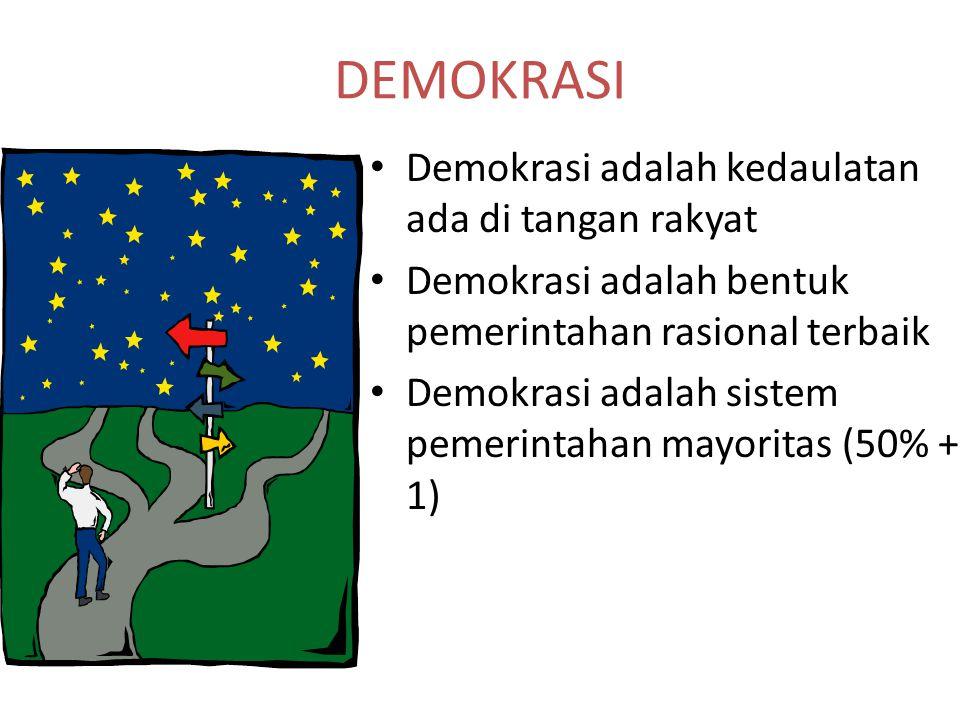 DEMOKRASI Demokrasi adalah kedaulatan ada di tangan rakyat Demokrasi adalah bentuk pemerintahan rasional terbaik Demokrasi adalah sistem pemerintahan