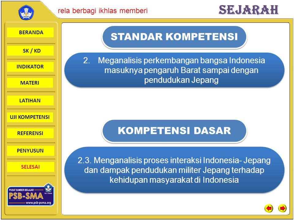 BERANDA SK / KD INDIKATORSejarah rela berbagi ikhlas memberi MATERI LATIHAN UJI KOMPETENSI REFERENSI PENYUSUN SELESAI STANDAR KOMPETENSI KOMPETENSI DASAR 2.Meganalisis perkembangan bangsa Indonesia masuknya pengaruh Barat sampai dengan pendudukan Jepang 2.3.