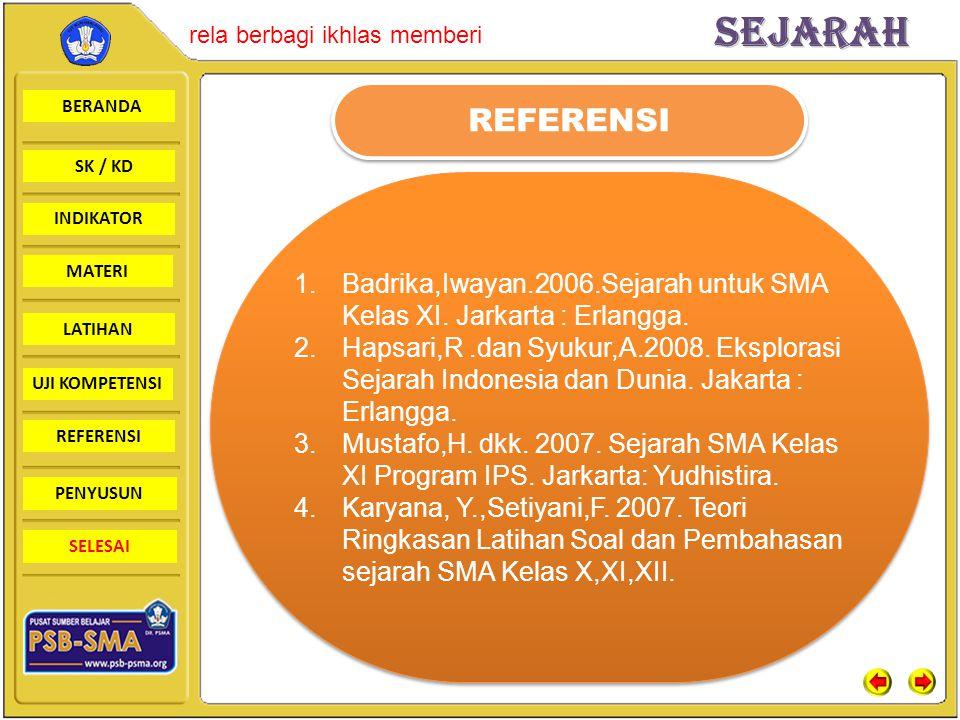 BERANDA SK / KD INDIKATORSejarah rela berbagi ikhlas memberi MATERI LATIHAN UJI KOMPETENSI REFERENSI PENYUSUN SELESAI REFERENSI 1.Badrika,Iwayan.2006.