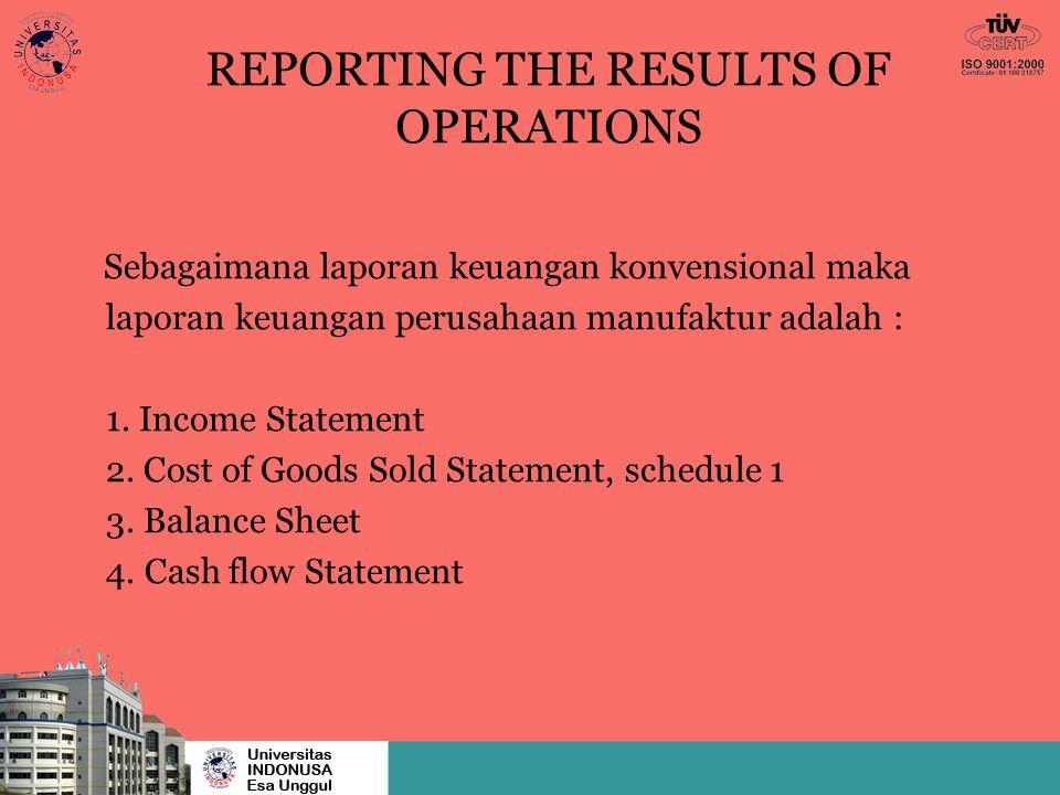 REPORTING THE RESULTS OF OPERATIONS Sebagaimana laporan keuangan konvensional maka laporan keuangan perusahaan manufaktur adalah : 1. Income Statement