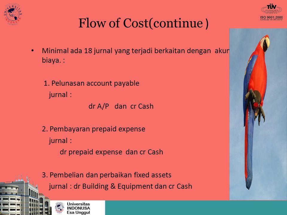 Flow of Cost(continue ) Minimal ada 18 jurnal yang terjadi berkaitan dengan akuntansi biaya. : 1. Pelunasan account payable jurnal : dr A/P dan cr Cas