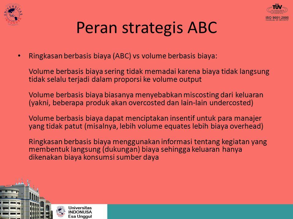 Peran strategis ABC Ringkasan berbasis biaya (ABC) vs volume berbasis biaya: Volume berbasis biaya sering tidak memadai karena biaya tidak langsung ti