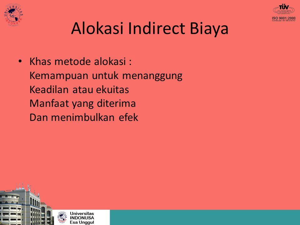 Alokasi Indirect Biaya Khas metode alokasi : Kemampuan untuk menanggung Keadilan atau ekuitas Manfaat yang diterima Dan menimbulkan efek