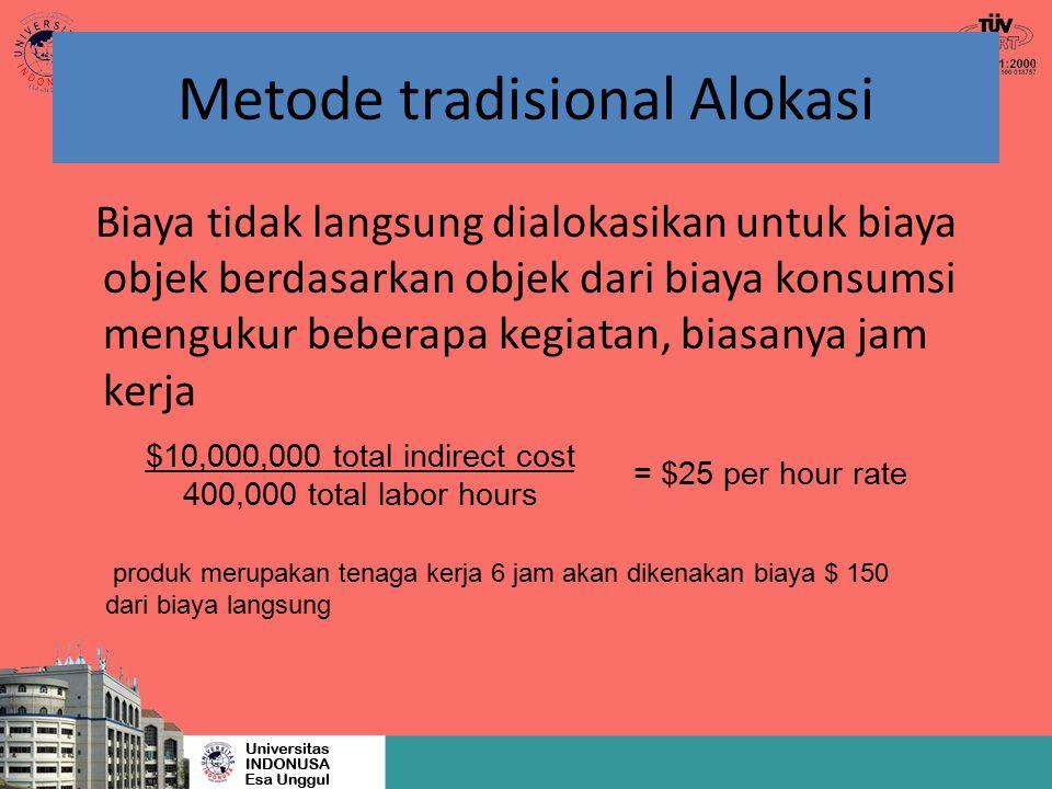 Metode tradisional Alokasi Biaya tidak langsung dialokasikan untuk biaya objek berdasarkan objek dari biaya konsumsi mengukur beberapa kegiatan, biasa