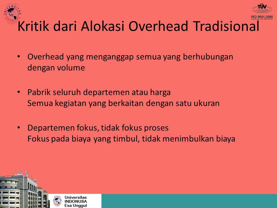 Kritik dari Alokasi Overhead Tradisional Overhead yang menganggap semua yang berhubungan dengan volume Pabrik seluruh departemen atau harga Semua kegi
