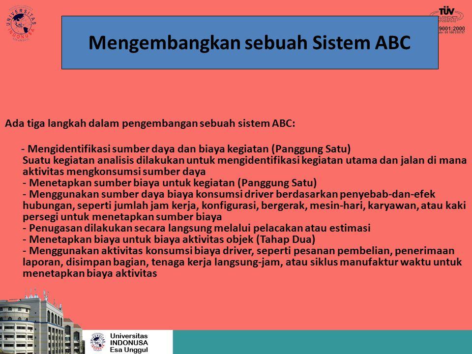 Ada tiga langkah dalam pengembangan sebuah sistem ABC: - Mengidentifikasi sumber daya dan biaya kegiatan (Panggung Satu) Suatu kegiatan analisis dilak