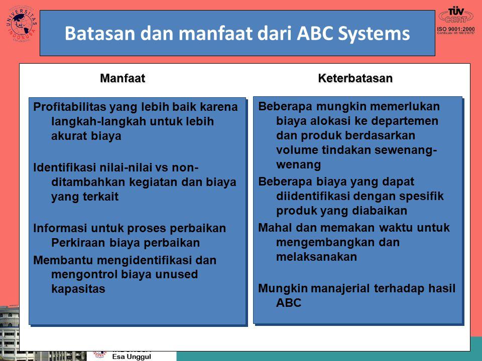 Batasan dan manfaat dari ABC Systems Beberapa mungkin memerlukan biaya alokasi ke departemen dan produk berdasarkan volume tindakan sewenang- wenang B