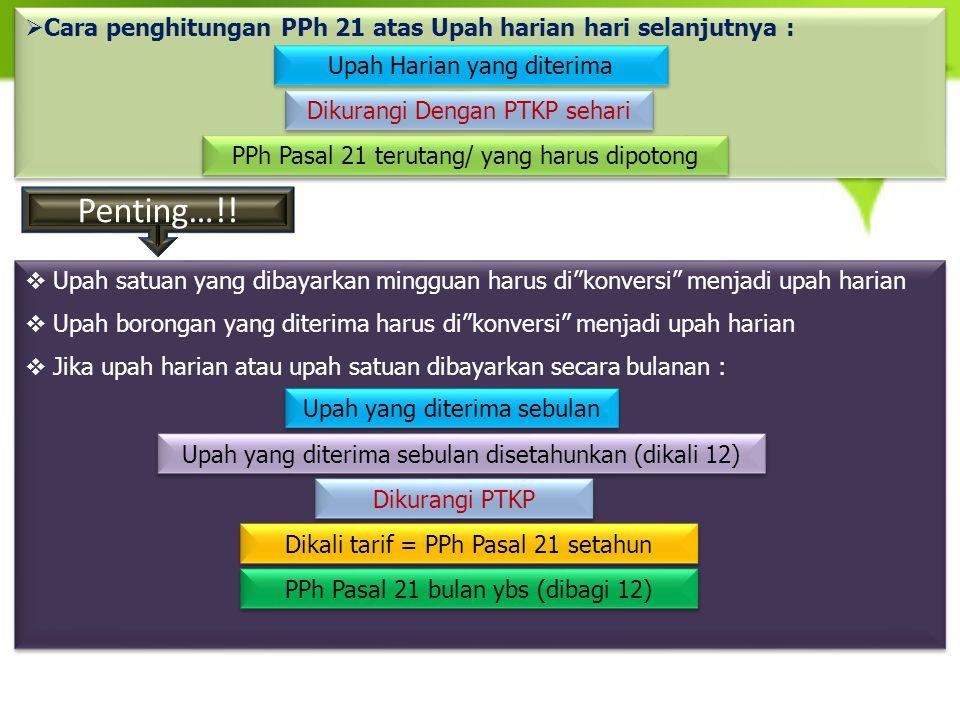  Cara penghitungan PPh 21 atas Upah harian hari selanjutnya : Upah Harian yang diterima Dikurangi Dengan PTKP sehari PPh Pasal 21 terutang/ yang haru