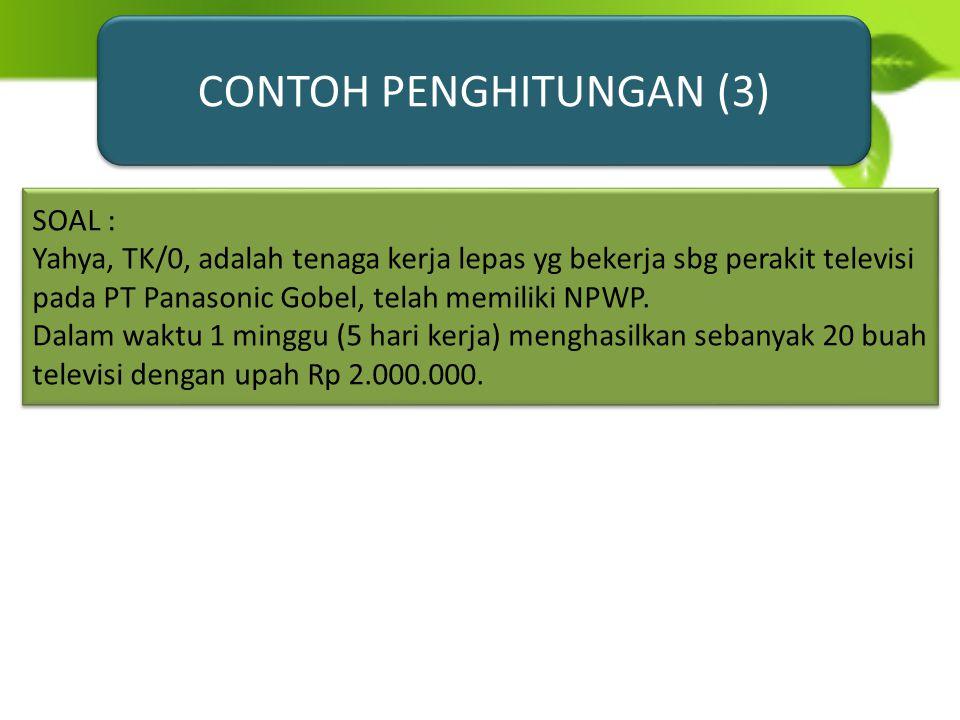 DIKENAKAN TARIF PPh SECARA LANGSUNG DENGAN TARIF PROGRESIF TANPA PERKIRAAN PENGHASILAN NETO MAUPUN TANPA PENGURANGAN PTKP CONTOH SOAL : TAUFIK HIDAYAT, atlet bulu tangkis profesional Indonesia telah memiliki NPWP, menjuarai Turnamen Indonesia Open dan memperoleh hadiah sebesar Rp 200.000.000,- PPh PASAL 21 atas hadiah tersebut : 5% x Rp 50.000.000,-=Rp 2.500.000,- 15% x Rp 150.000.000,-=Rp 22.500.000,- JUMLAH PPh PASAL 21 =Rp 25.000.000,-