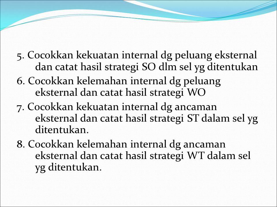 5. Cocokkan kekuatan internal dg peluang eksternal dan catat hasil strategi SO dlm sel yg ditentukan 6. Cocokkan kelemahan internal dg peluang ekstern