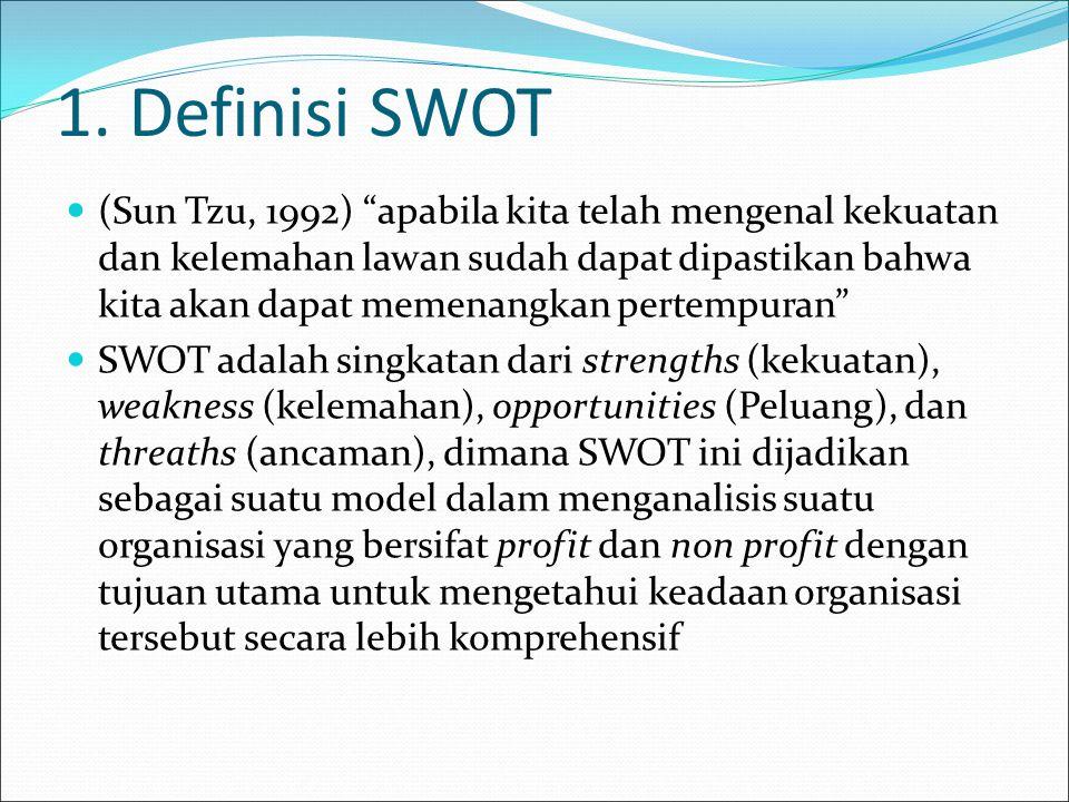 "1. Definisi SWOT (Sun Tzu, 1992) ""apabila kita telah mengenal kekuatan dan kelemahan lawan sudah dapat dipastikan bahwa kita akan dapat memenangkan pe"
