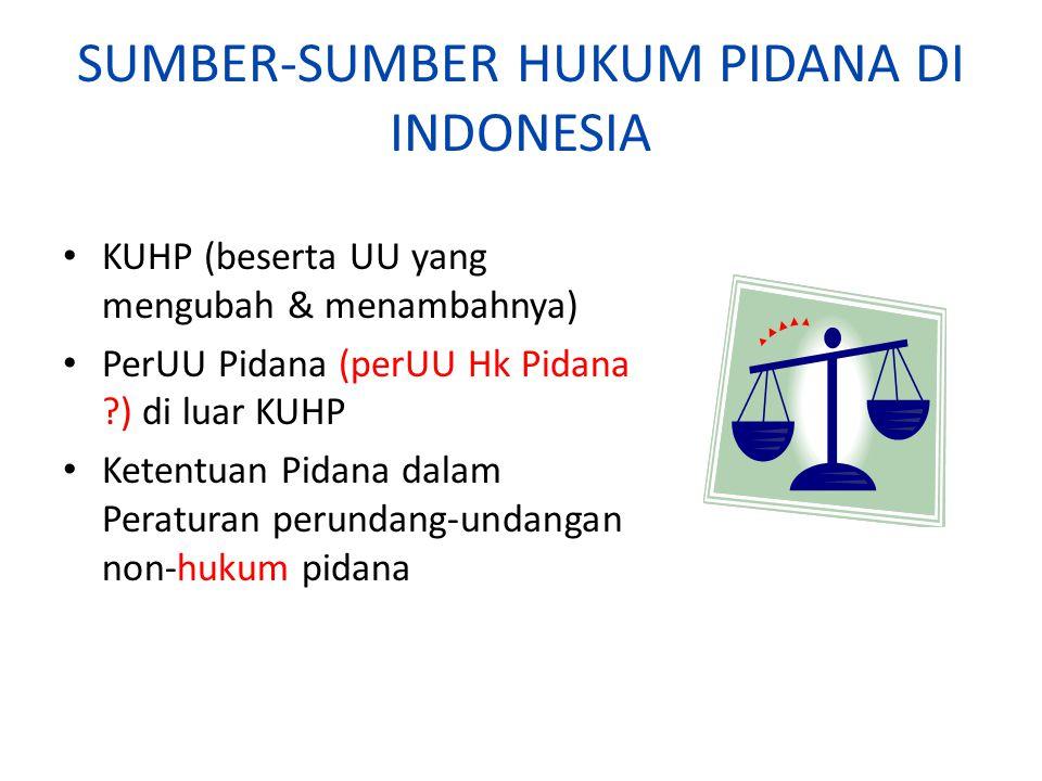 SUMBER-SUMBER HUKUM PIDANA DI INDONESIA KUHP (beserta UU yang mengubah & menambahnya) PerUU Pidana (perUU Hk Pidana ?) di luar KUHP Ketentuan Pidana d