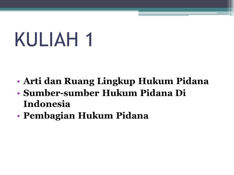KULIAH 1 Arti dan Ruang Lingkup Hukum Pidana Sumber-sumber Hukum Pidana Di Indonesia Pembagian Hukum Pidana