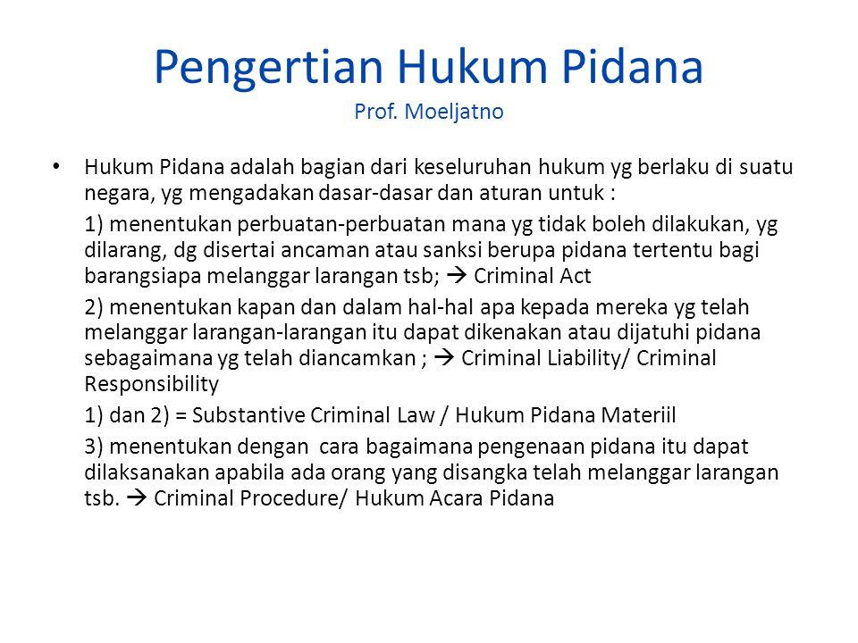 Pengertian Hukum Pidana Prof. Moeljatno Hukum Pidana adalah bagian dari keseluruhan hukum yg berlaku di suatu negara, yg mengadakan dasar-dasar dan at
