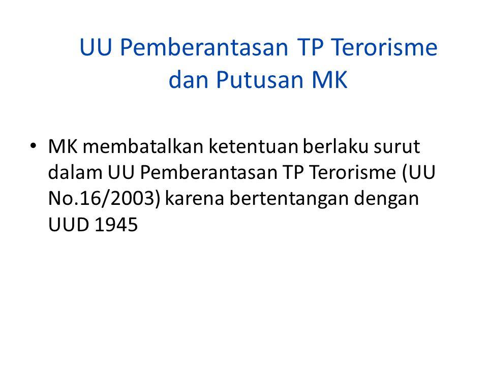 UU Pemberantasan TP Terorisme dan Putusan MK MK membatalkan ketentuan berlaku surut dalam UU Pemberantasan TP Terorisme (UU No.16/2003) karena bertent