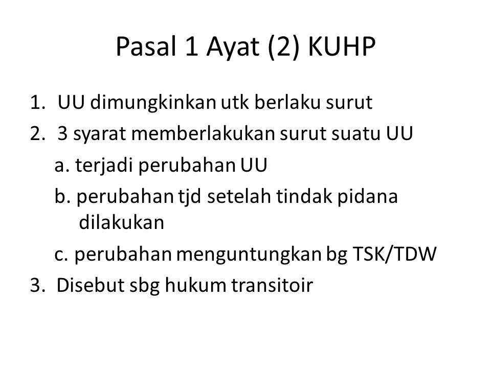 Pasal 1 Ayat (2) KUHP 1.UU dimungkinkan utk berlaku surut 2.3 syarat memberlakukan surut suatu UU a. terjadi perubahan UU b. perubahan tjd setelah tin