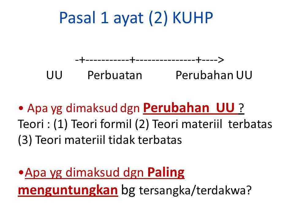 Pasal 1 ayat (2) KUHP -+-----------+---------------+----> UU Perbuatan Perubahan UU Apa yg dimaksud dgn Perubahan UU ? Teori : (1) Teori formil (2) Te