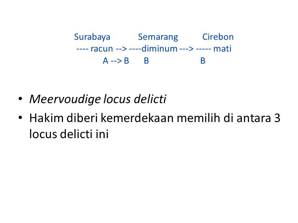 Surabaya Semarang Cirebon ---- racun --> ----diminum ---> ----- mati A --> B B B Meervoudige locus delicti Hakim diberi kemerdekaan memilih di antara