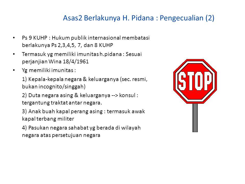 Asas2 Berlakunya H. Pidana : Pengecualian (2) Ps 9 KUHP : Hukum publik internasional membatasi berlakunya Ps 2,3,4,5, 7, dan 8 KUHP Termasuk yg memili