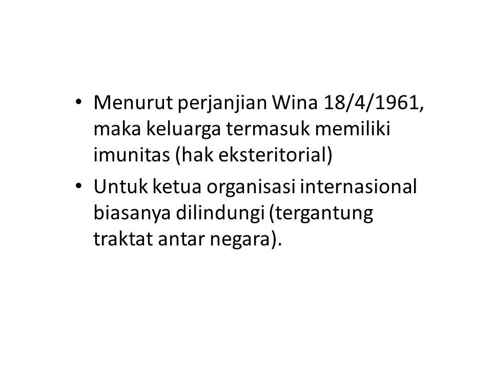 Menurut perjanjian Wina 18/4/1961, maka keluarga termasuk memiliki imunitas (hak eksteritorial) Untuk ketua organisasi internasional biasanya dilindun
