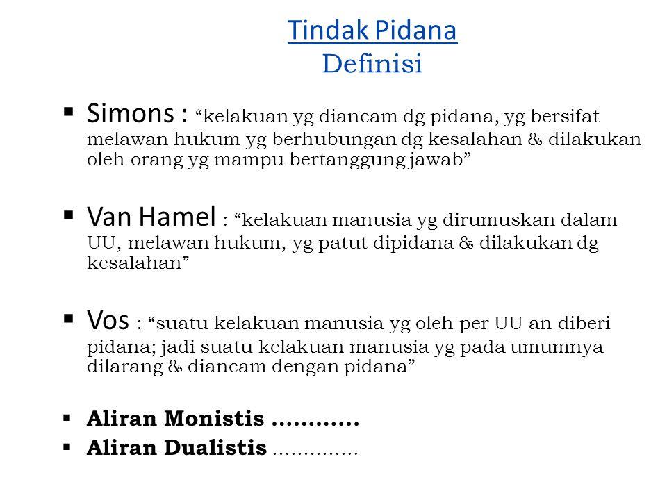 "Tindak Pidana Definisi  Simons : ""kelakuan yg diancam dg pidana, yg bersifat melawan hukum yg berhubungan dg kesalahan & dilakukan oleh orang yg mamp"