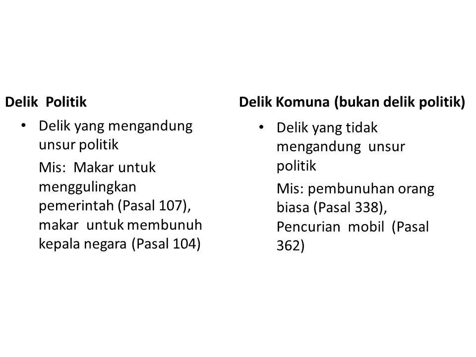 Delik Politik Delik yang mengandung unsur politik Mis: Makar untuk menggulingkan pemerintah (Pasal 107), makar untuk membunuh kepala negara (Pasal 104