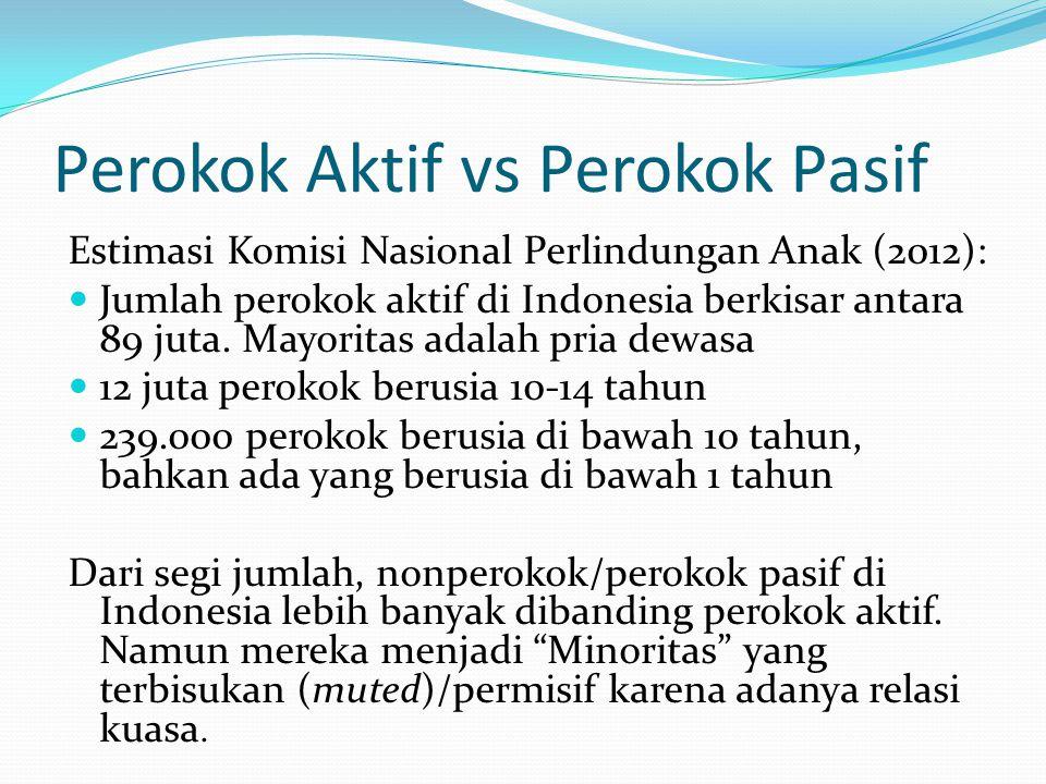 Perokok Aktif vs Perokok Pasif Estimasi Komisi Nasional Perlindungan Anak (2012): Jumlah perokok aktif di Indonesia berkisar antara 89 juta.
