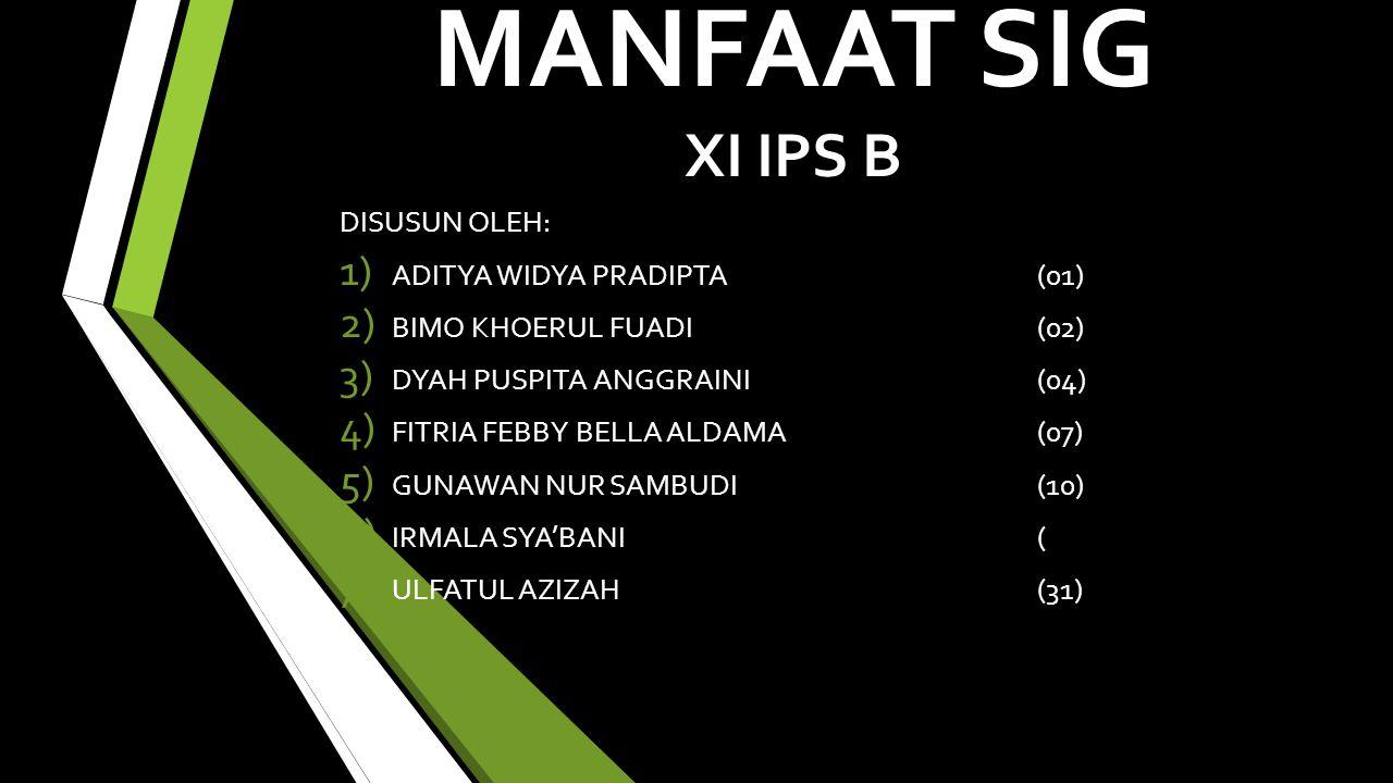 MANFAAT SIG XI IPS B DISUSUN OLEH: 1) ADITYA WIDYA PRADIPTA(01) 2) BIMO KHOERUL FUADI(02) 3) DYAH PUSPITA ANGGRAINI(04) 4) FITRIA FEBBY BELLA ALDAMA(07) 5) GUNAWAN NUR SAMBUDI(10) 6) IRMALA SYA'BANI( 7) ULFATUL AZIZAH(31)