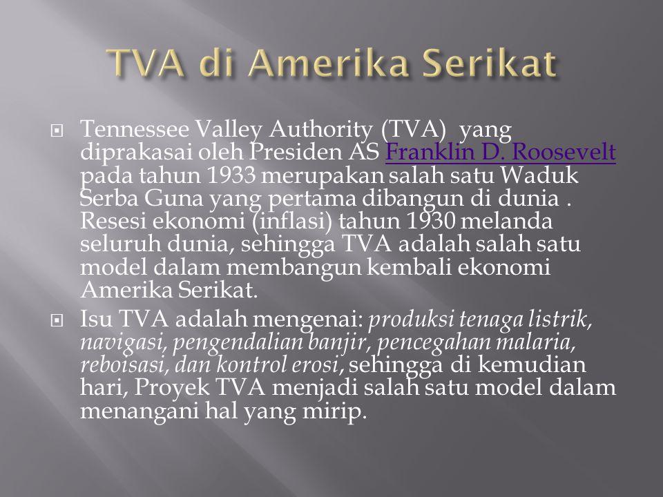  Tennessee Valley Authority (TVA) yang diprakasai oleh Presiden AS Franklin D. Roosevelt pada tahun 1933 merupakan salah satu Waduk Serba Guna yang p