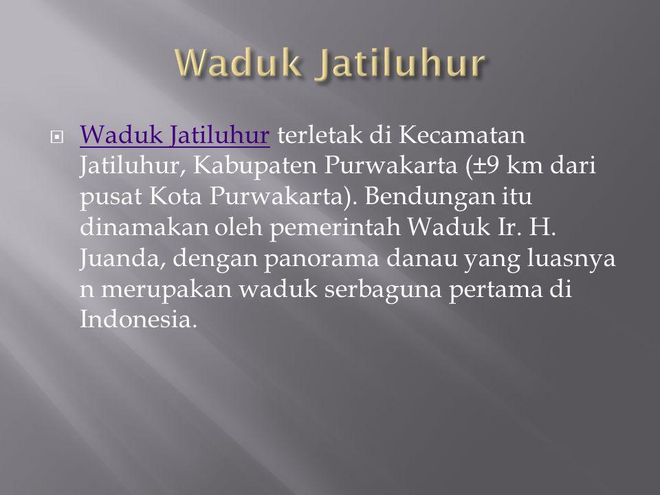  Waduk Jatiluhur terletak di Kecamatan Jatiluhur, Kabupaten Purwakarta (±9 km dari pusat Kota Purwakarta). Bendungan itu dinamakan oleh pemerintah Wa