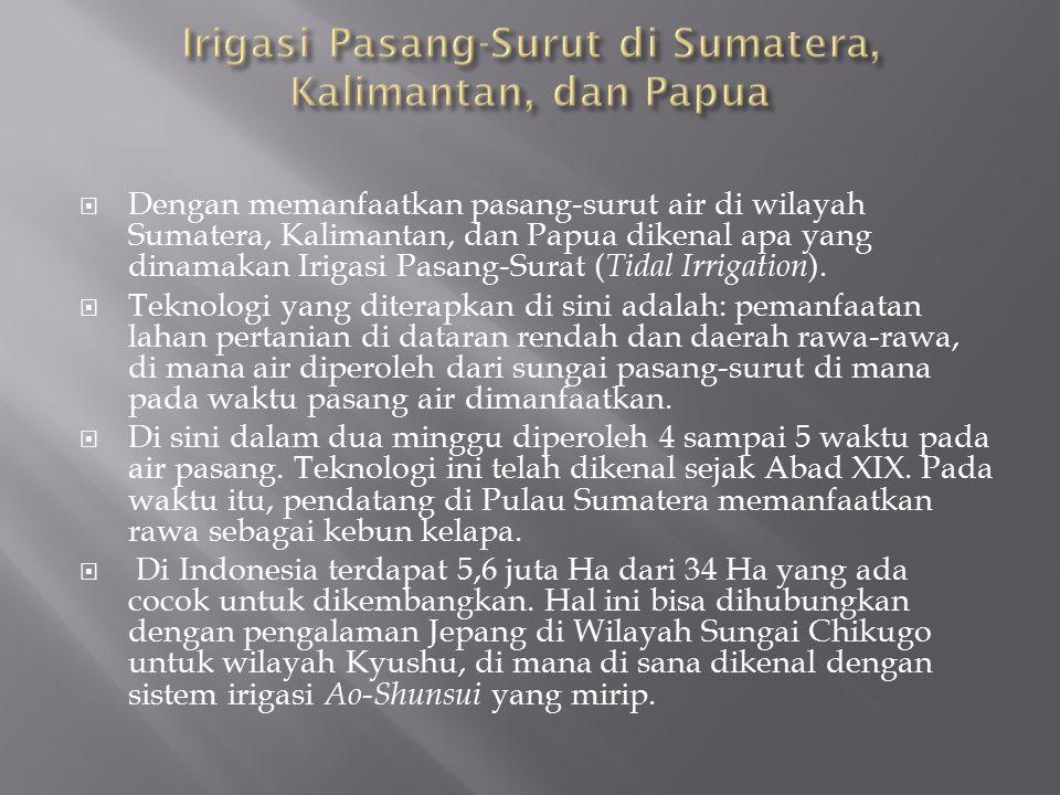  Dengan memanfaatkan pasang-surut air di wilayah Sumatera, Kalimantan, dan Papua dikenal apa yang dinamakan Irigasi Pasang-Surat ( Tidal Irrigation )