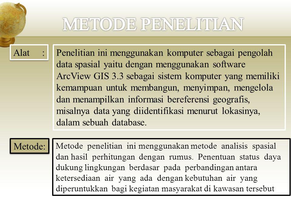 Alat : Penelitian ini menggunakan komputer sebagai pengolah data spasial yaitu dengan menggunakan software ArcView GIS 3.3 sebagai sistem komputer yan