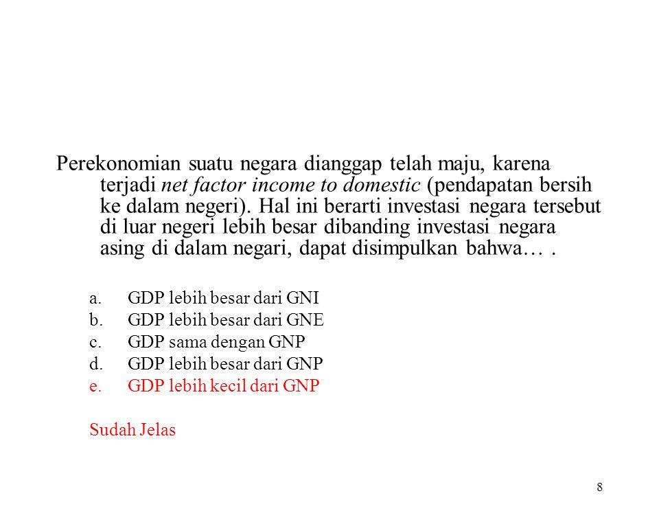 7 PDB (GDP)  PNB (GNP) P D B Penyusutan Produk Domestik Neto Pajak2 Tak-Langsung Pendapatan Domestik Negara Berkembang: PDB > PNB (GDP) > (GNP) P N