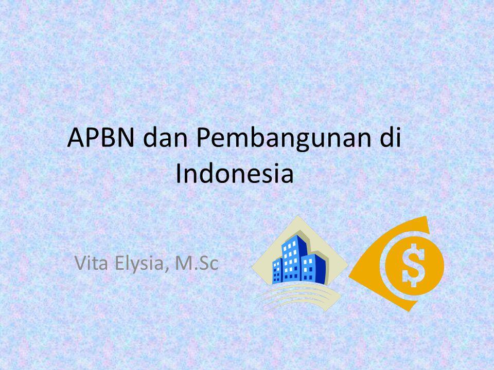 APBN: Pengalaman Indonesia Struktur perekonomian baru → strategi kebijaksanaan APBN harus disesuaikan Dilihat: – sektor-sektor mana yang memiliki potensi sebagai sumber penerimaan negara yang utama – sektor-sektor mana yang harus lebih didorong perkembangannya →guna mencapai masyarakat adil-makmur berdasarkan Pancasila