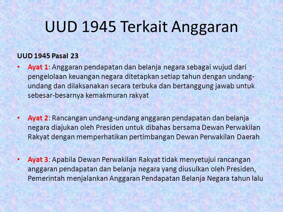 UUD 1945 Terkait Anggaran UUD 1945 Pasal 23 Ayat 1: Anggaran pendapatan dan belanja negara sebagai wujud dari pengelolaan keuangan negara ditetapkan s