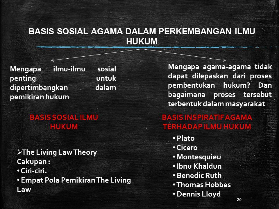 BASIS SOSIAL AGAMA DALAM PERKEMBANGAN ILMU HUKUM 20 Mengapa ilmu-ilmu sosial penting untuk dipertimbangkan dalam pemikiran hukum BASIS SOSIAL ILMU HUKUM  The Living Law Theory Cakupan : Ciri-ciri.