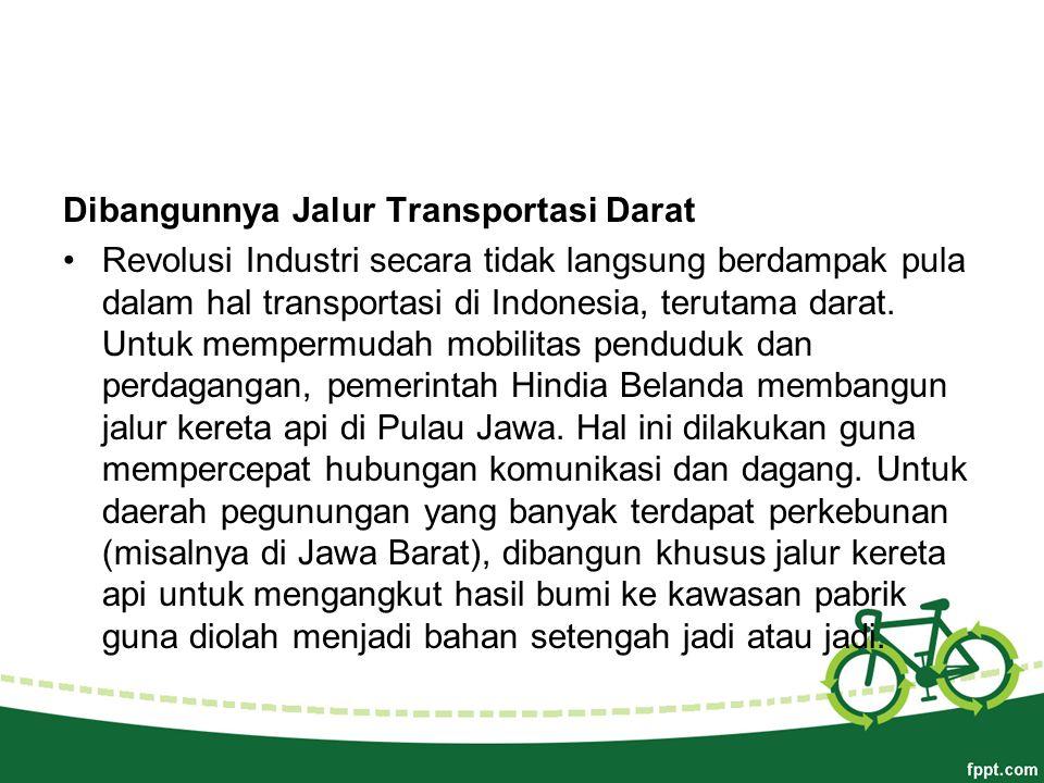 Dibangunnya Jalur Transportasi Darat Revolusi Industri secara tidak langsung berdampak pula dalam hal transportasi di Indonesia, terutama darat.